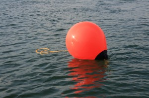 Mooring buoy - anchor lines will be attached to these