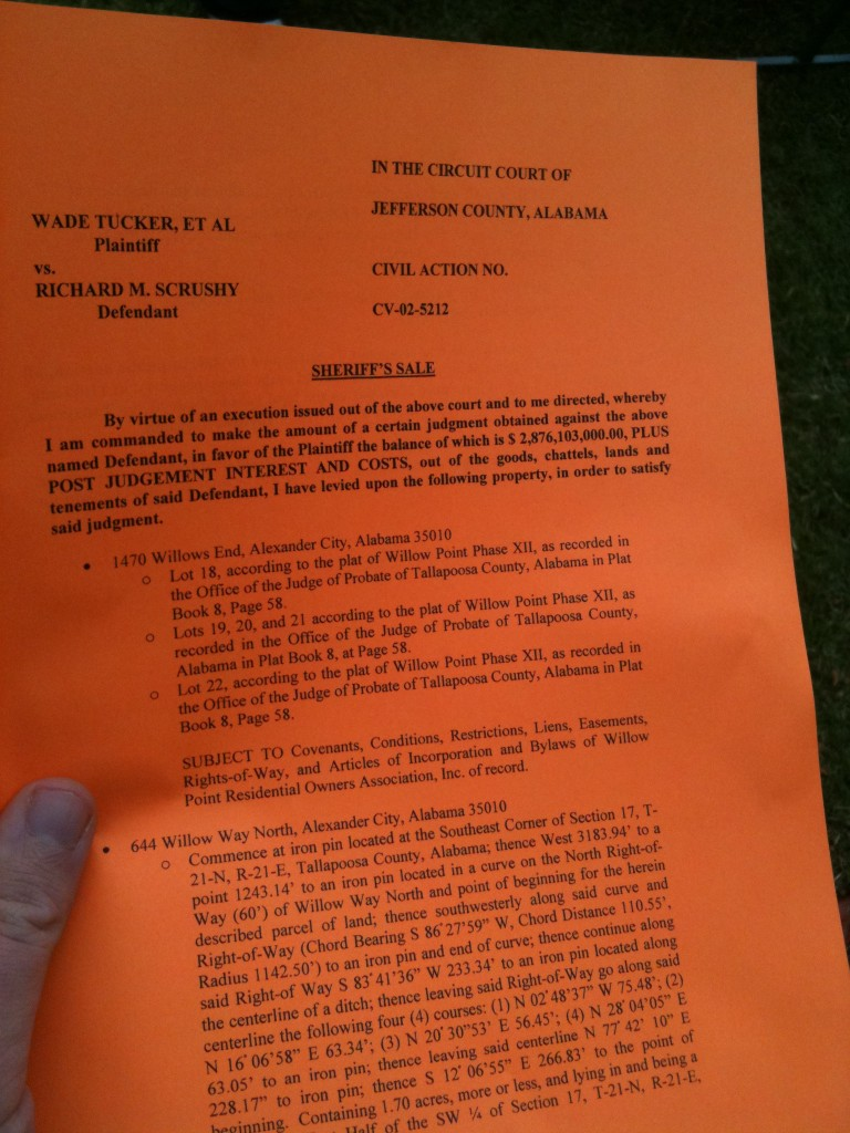 sheriffs sale order scrushy lake martin home document