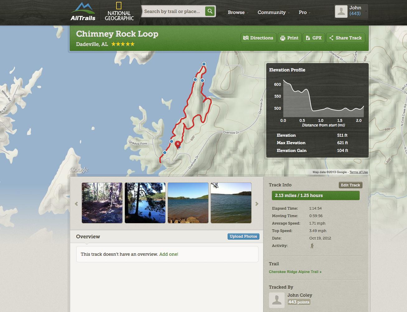 All Trails App Maps the Cherokee Ridge Alpine Trails on Lake