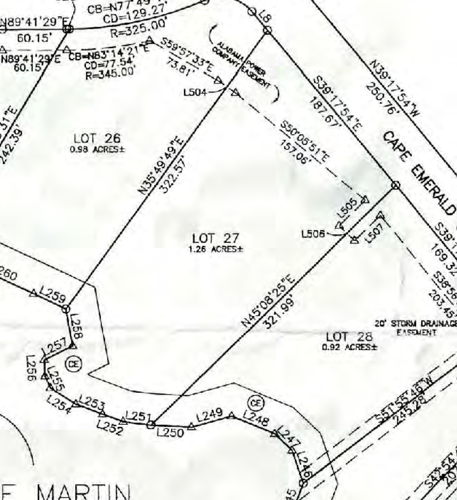Map of Lot #27 Lake Martin
