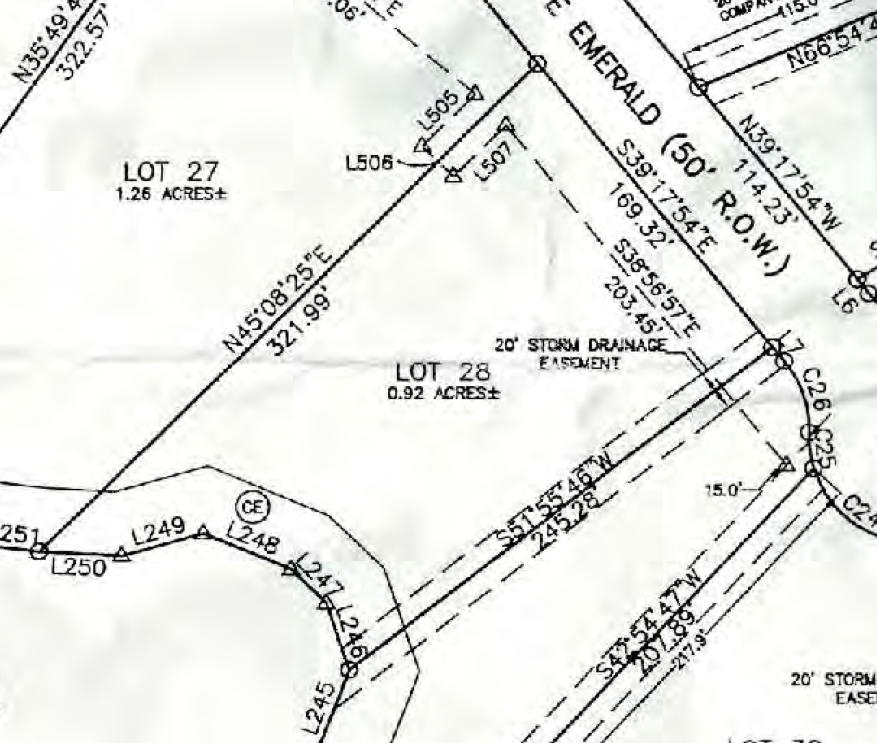 Map of Lot #28 Emerald Shores