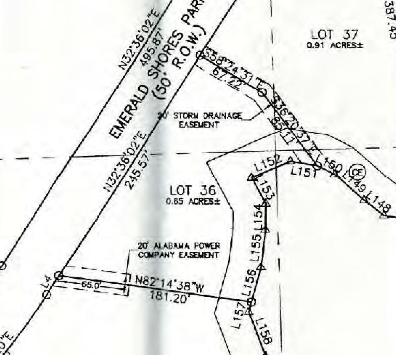 Map of Lot #36 Emerald Shores