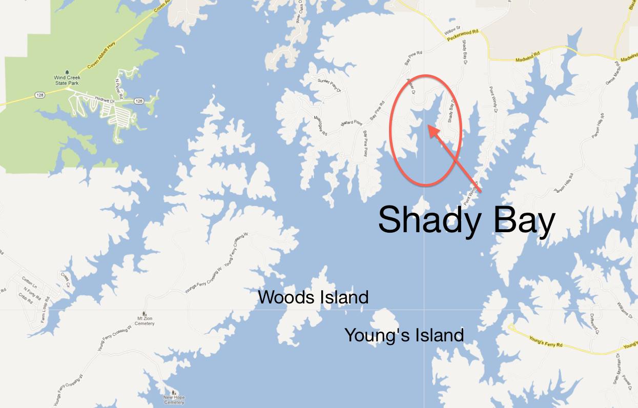 Shady Bay location on Lake Martin