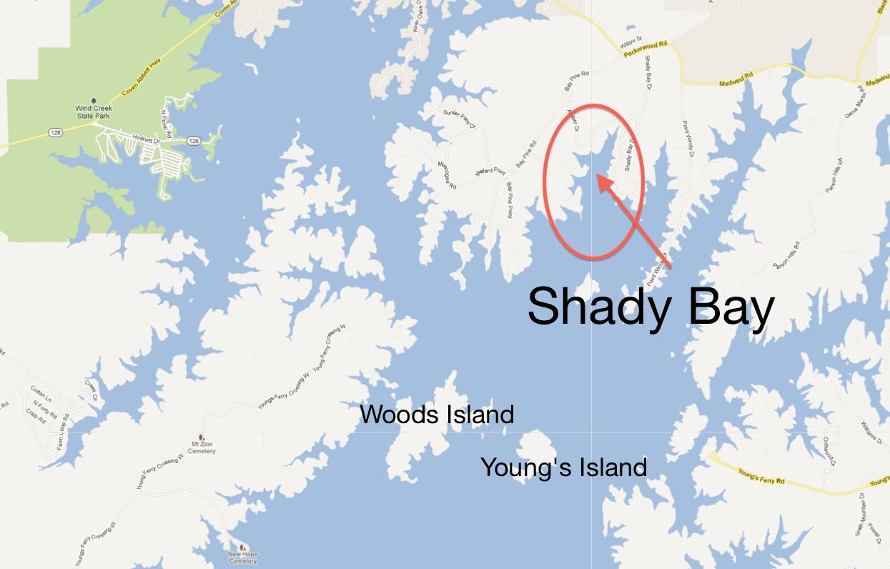 Shady Bay location on Lake Martin