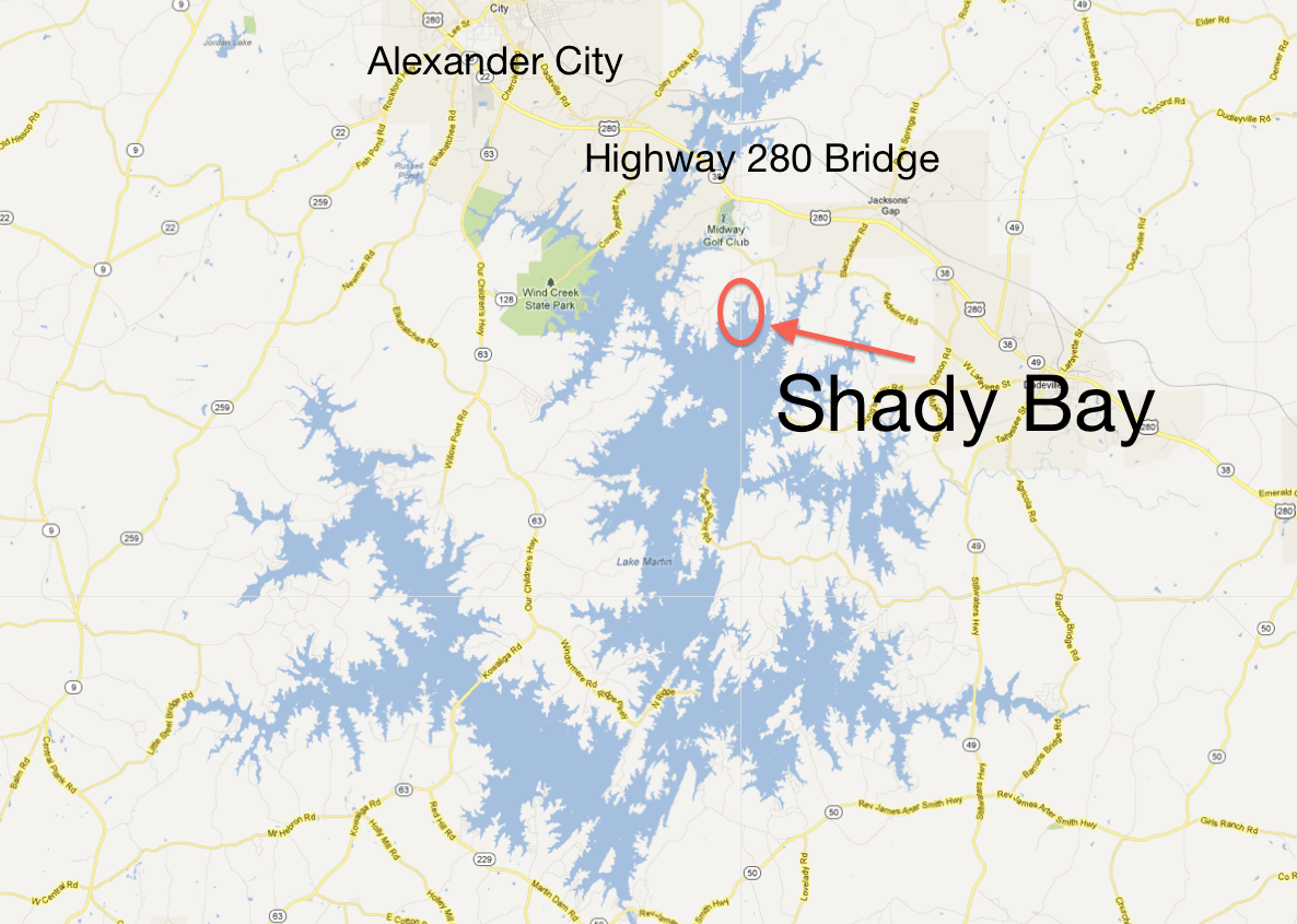 Shady Bay on northeast Lake Martin