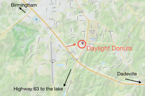 Daylight Donuts near Lake Martin Map
