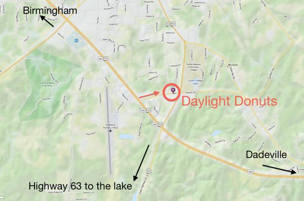 Daylight Donuts near Lake Martin Map