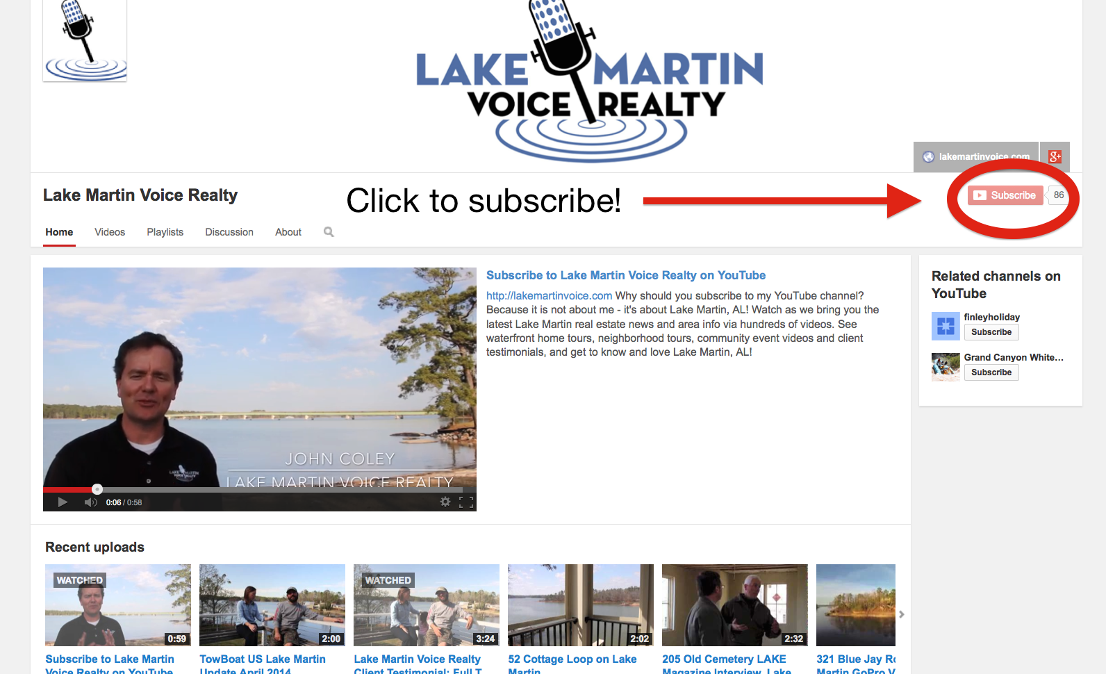 Subscribe to Lake Martin Voice's YouTube Channel