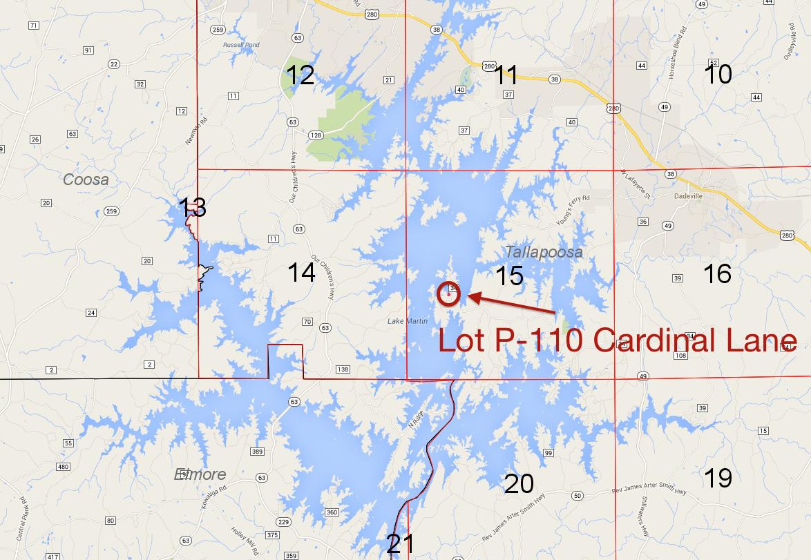 Lot P-110 on Lake Martin Pace's Peninsula