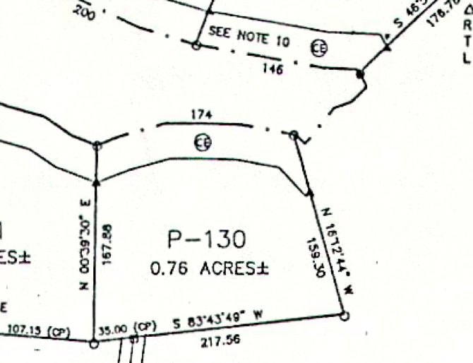 Lot P-130 Plat Map Pace's Peninsula