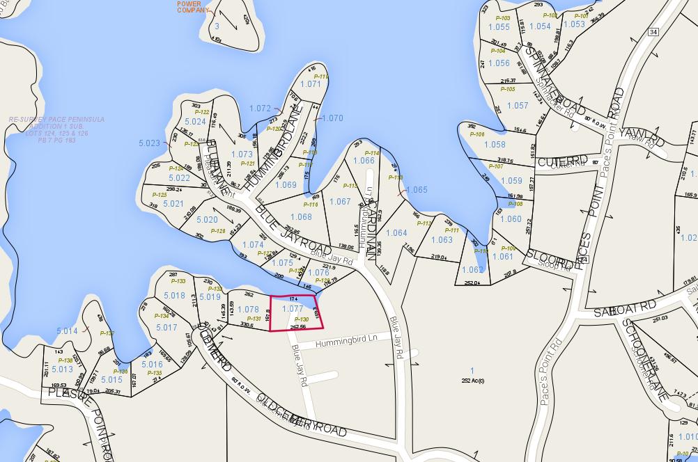 Lot P-130 Tax Map Pace's Peninsula