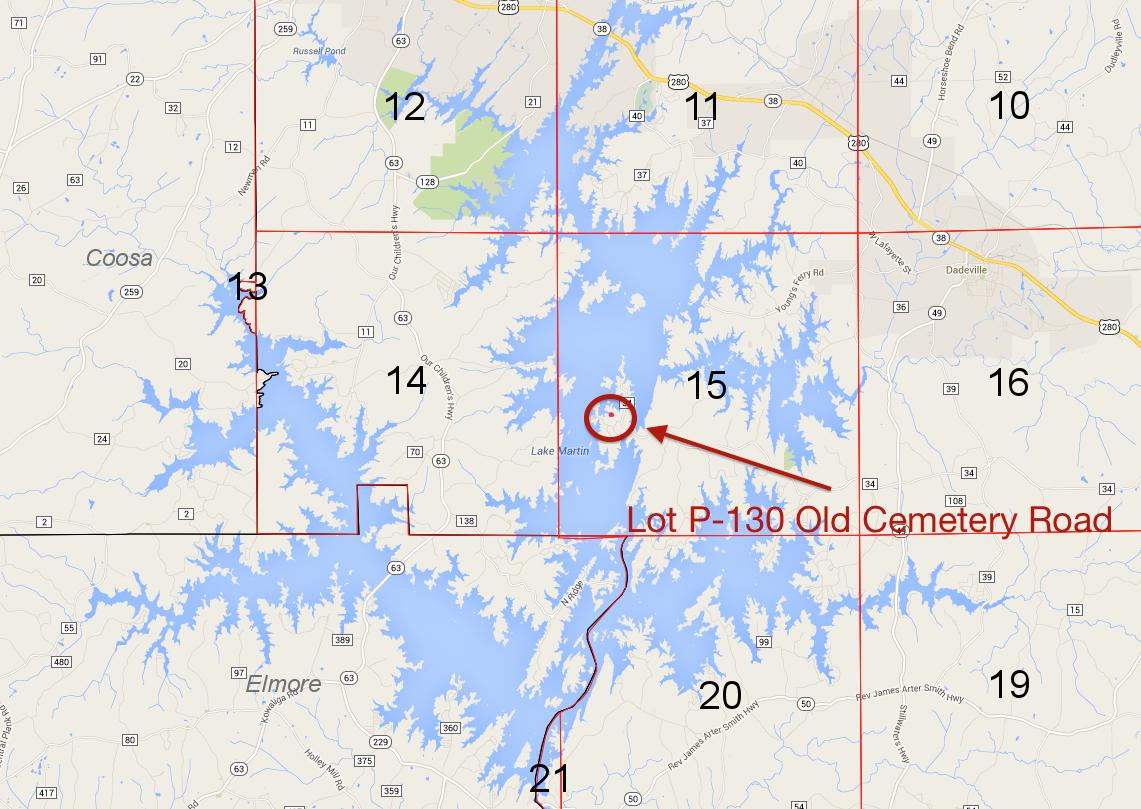 Lot P-130 location on Lake Martin Pace's Peninsula