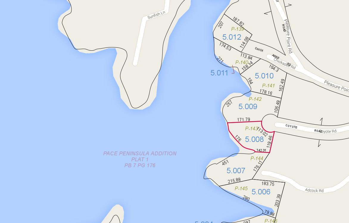 Lot P-143 Tax Map Pace's Peninsula