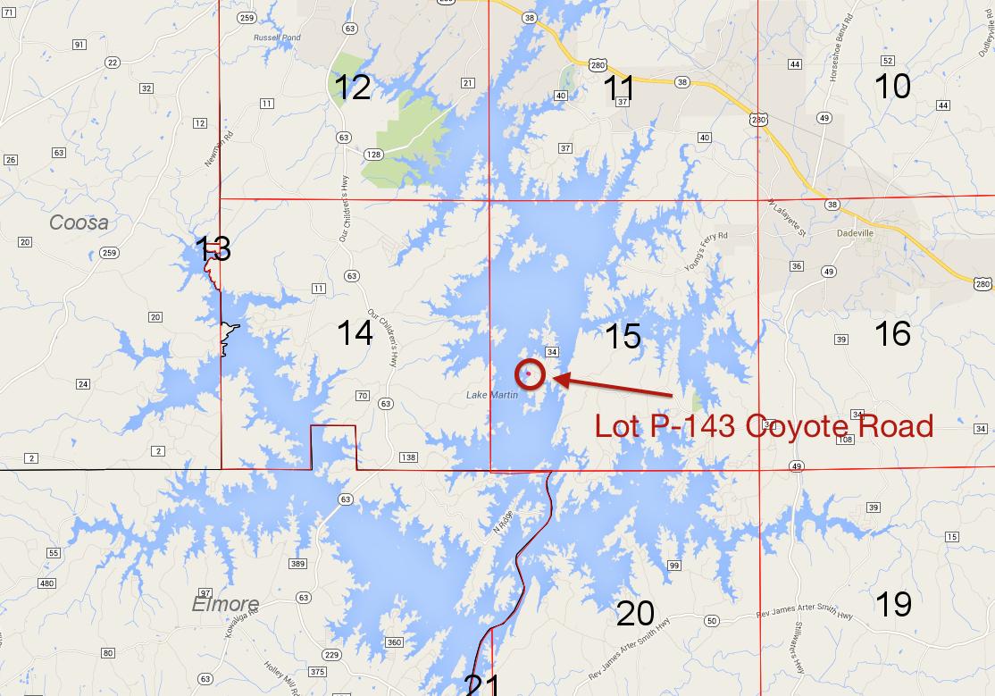 Lot P-143 location on Lake Martin Pace's Peninsula