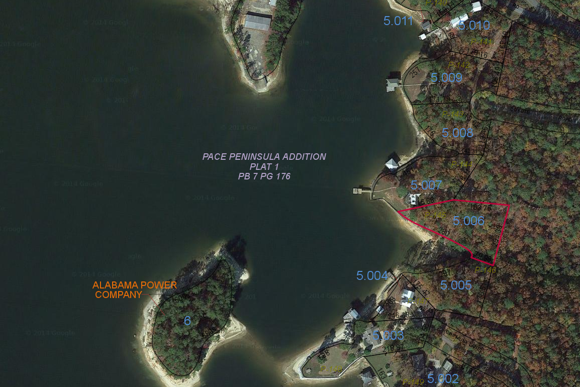 Lot P-145 Satellite Map Pace's Peninsula