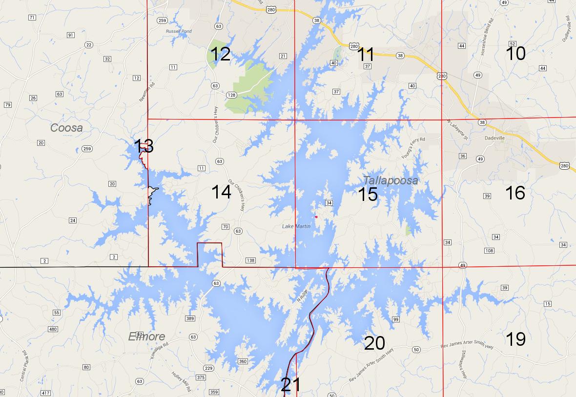 Lot P-145 location on Lake Martin