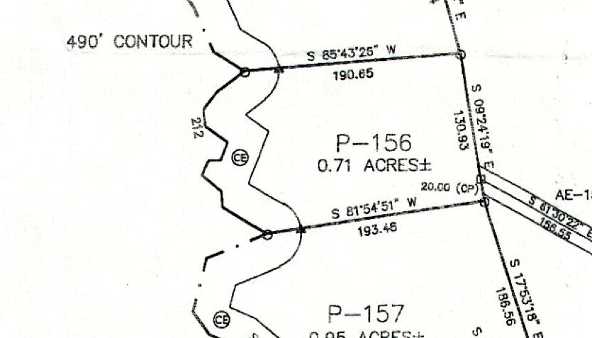 Lot P-156 Plat Map Pace's Peninsula