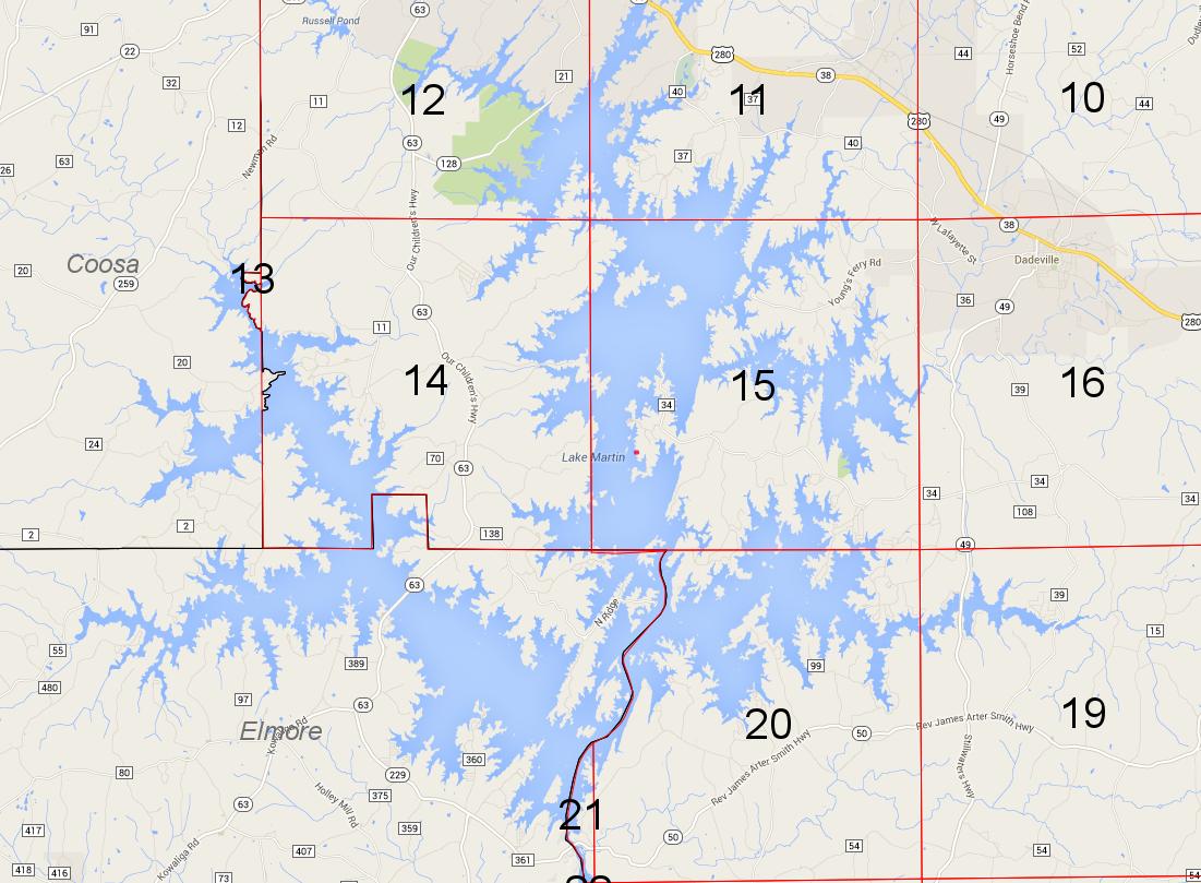 Lot P-156 location on Lake Martin