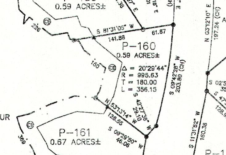 Lot P-160 Plat Map Pace's Peninsula