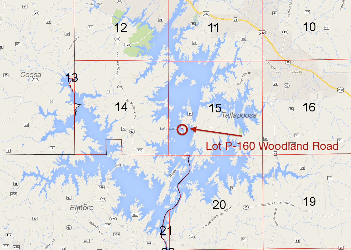 Lot P-160 location on Lake Martin Pace's Peninsula
