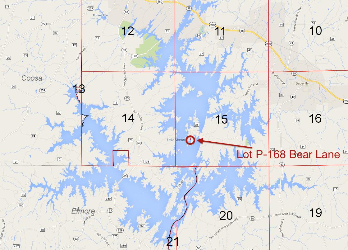 Lot P-168 location on Lake Martin Pace's Peninsula