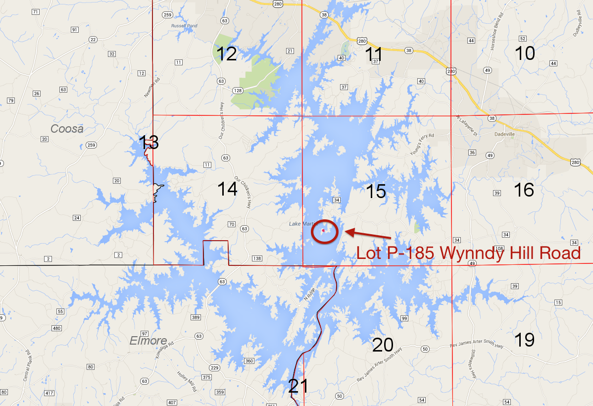 Lot P-185 location on Lake Martin Pace's Peninsula