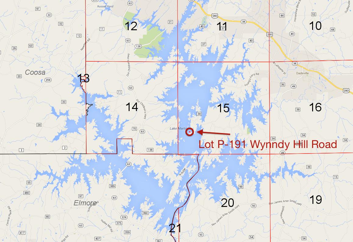 Lot P-191 location on Lake Martin Pace's Peninsula