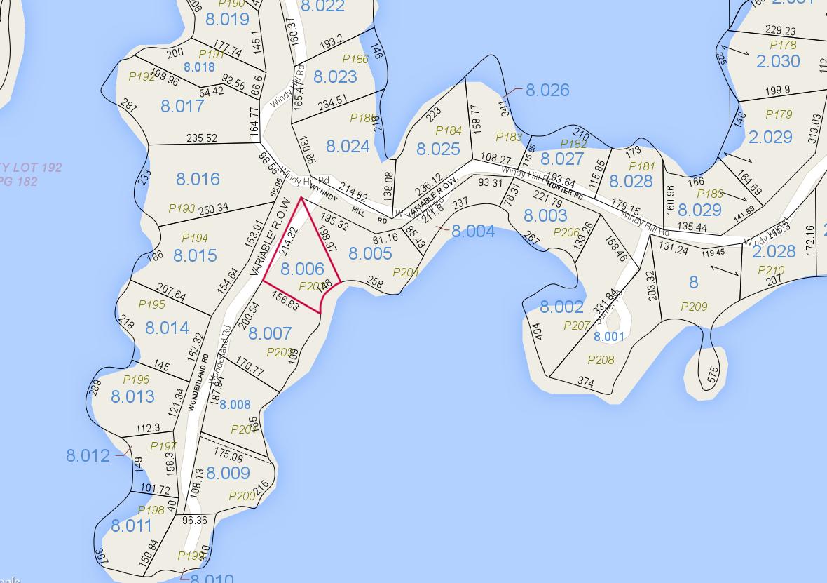 Lot P-203 Tax Map Zoom Pace's Peninsula