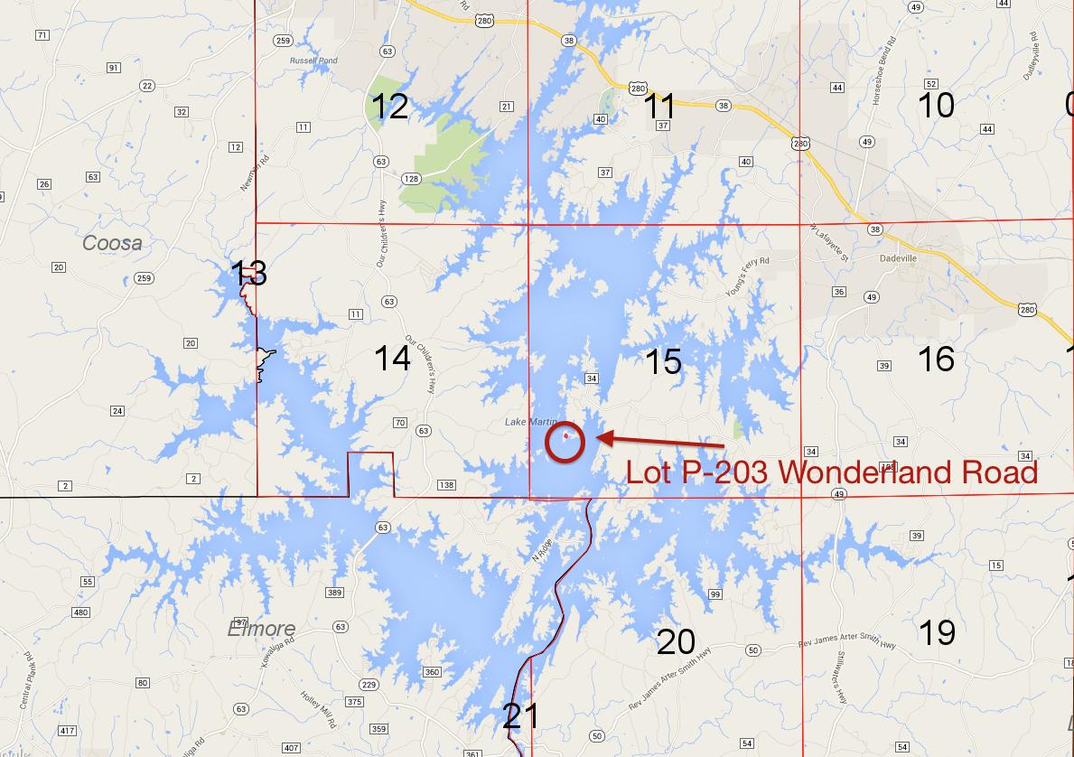Lot P-203 location on Lake Martin
