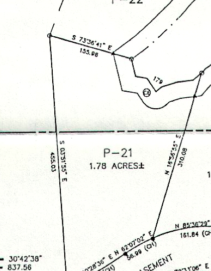 P-21 plat map Paces Peninsula lot
