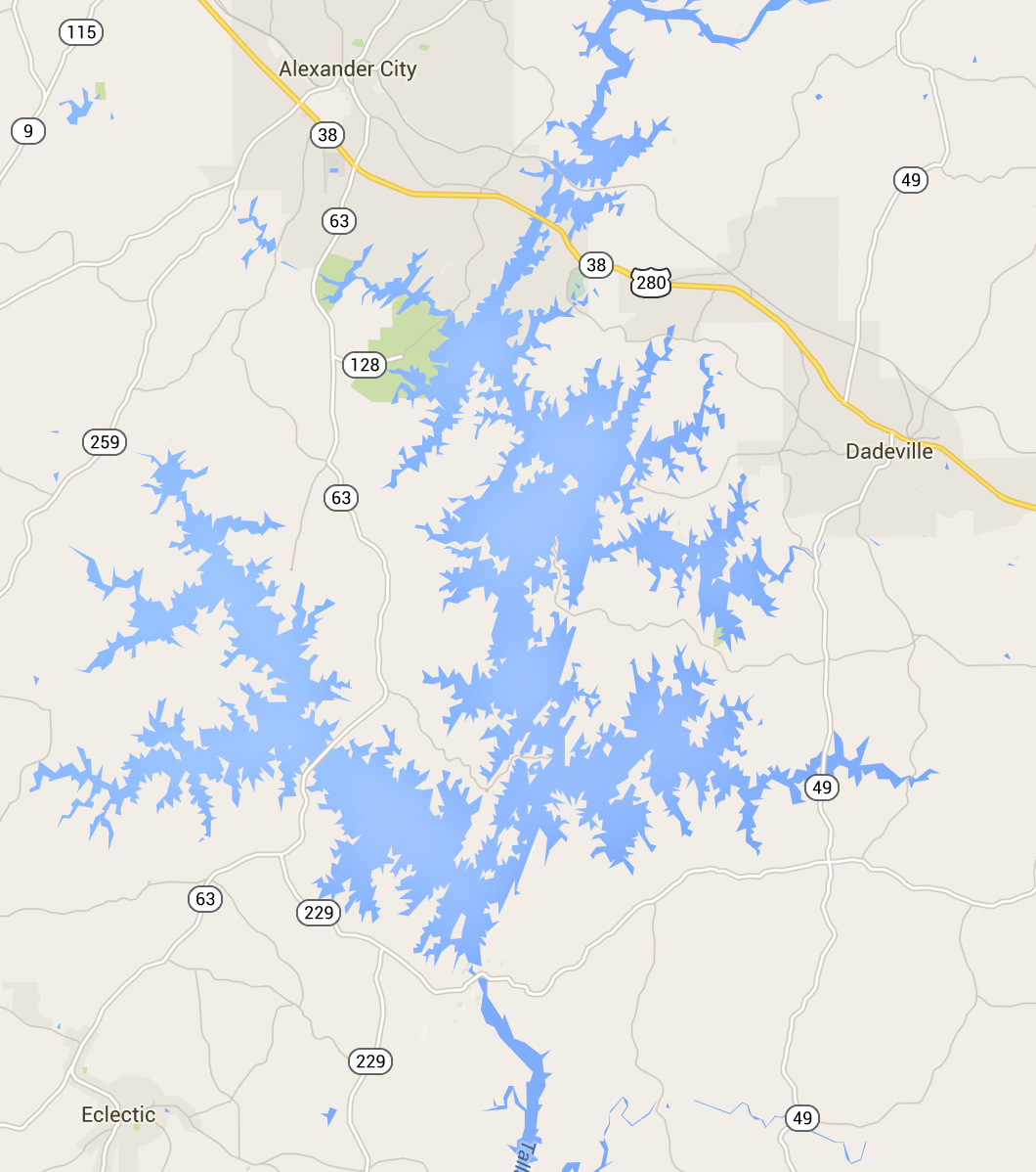 Major towns around Lake Martin